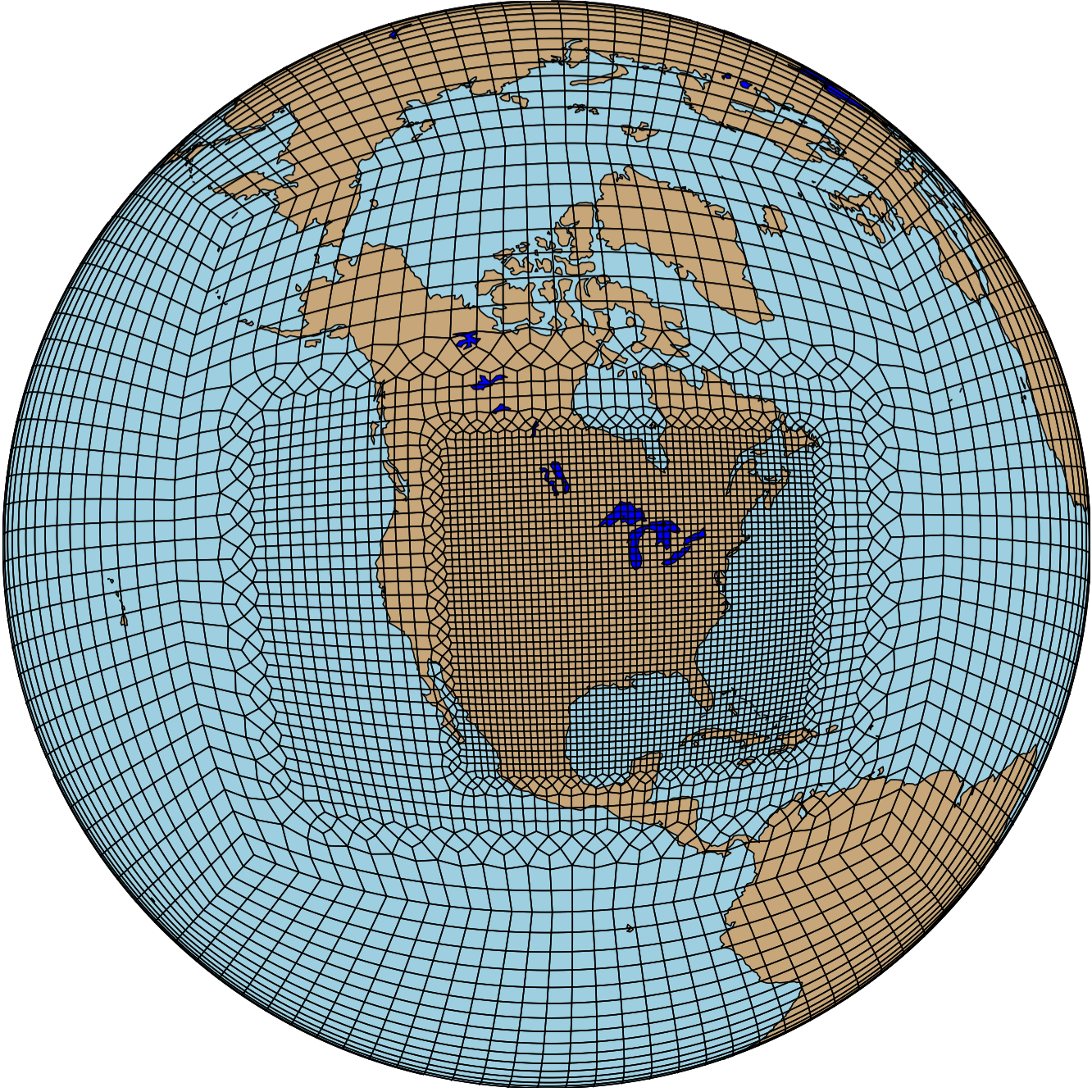 An example of a variable-resolution global grid with enhanced resolution over the United States